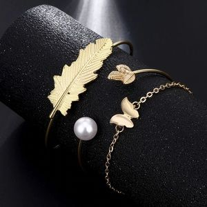 Jewelry - NWT 3pc Gold Leaf, Butterfly & Pearl Bracelet Set
